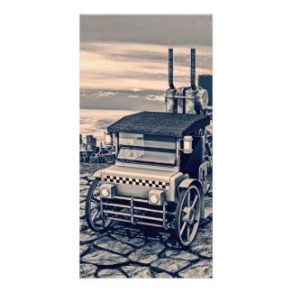 Retro Steam Cab-Taxi Photo Greeting Card