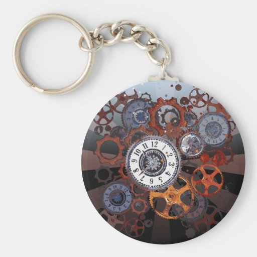 Retro steampunk watch parts, gears and cogs print keychains