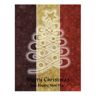 Retro Stencil Christmas Tree Postcard
