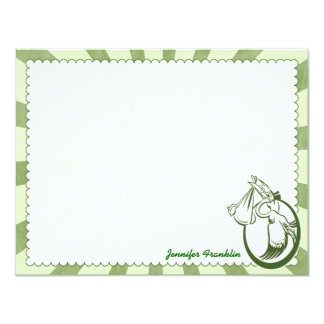 Retro Stork Personalized Flat Note Cards 11 Cm X 14 Cm Invitation Card