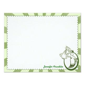 Retro Stork Personalized Flat Note Cards 11 Cm X 14 Cm Invitation Card