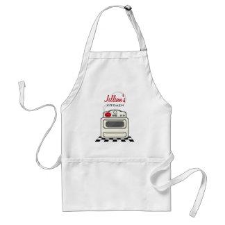 Retro Stove / Modern Red Kitchen Personalized Standard Apron