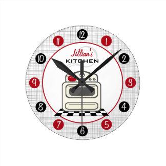 Retro Stove Red Black Kitchen Clock