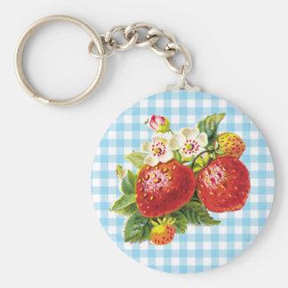 Retro Strawberry Key Ring