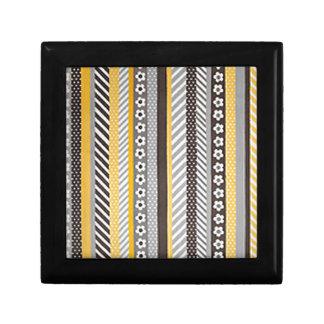 Retro Stripes and Daisies Small Square Gift Box