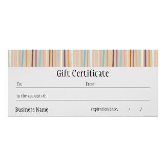 Retro Stripes Bright Gift Certificate Custom Rack Cards