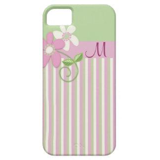 Retro stripes, flowers & Monogram iPhone 5 case