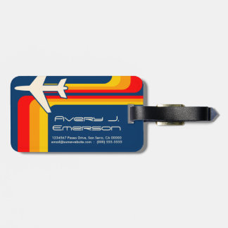 retro stripes luggage tag
