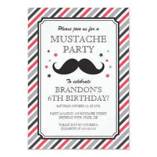 Retro stripes mustache bash kids birthday party 13 cm x 18 cm invitation card
