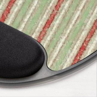 Retro Stripes Red Green Beige Stripe Gel Mouse Mat