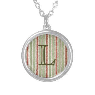 Retro Stripes Red Green Grunge Custom Necklace