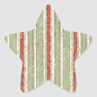 Retro Stripes Red Green Grunge Star Sticker