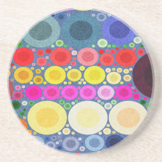 Retro Style Abstract Textured Polka-Dots Drink Coasters