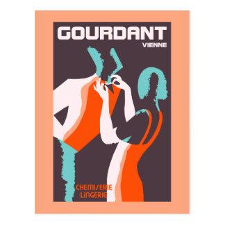 Retro style Art Deco French fashion ad Postcard