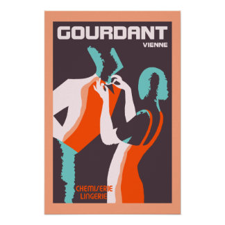 Retro style Art Deco French fashion ad Poster