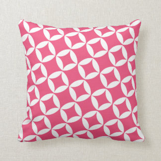 Retro Style Atomic Star Pattern in Berry Pink Cushion