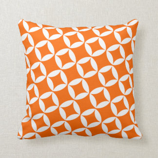 Retro Style Atomic Star Pattern in Orange Cushion