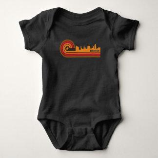Retro Style Binghamton New York Skyline Baby Bodysuit