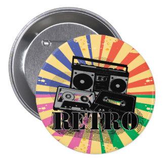 Retro style boom box and cassettes 7.5 cm round badge