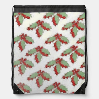 Retro Style Christmas Holly Drawstring Backpacks