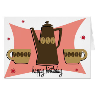 Retro Style Coffee Themed Birthday Card (Pink)