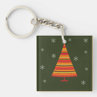 Retro style colorful christmas tree acrylic key chain