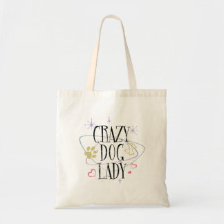 Retro Style Crazy Dog Lady Tote Bag