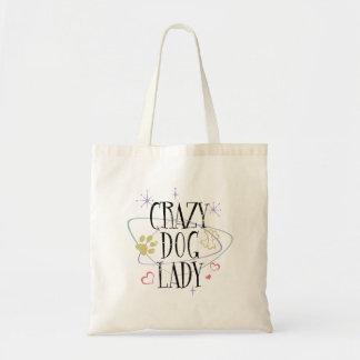 Retro Style Crazy Dog Lady Tote Bag