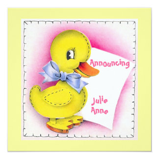 Retro Style Cute Toy Duck Baby Birth Announcement