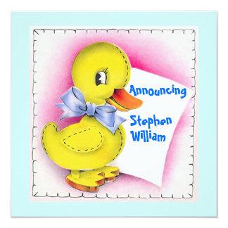 """Retro Style Cute Toy Duck Baby Birth Announcement 5.25"""" Square Invitation Card"""