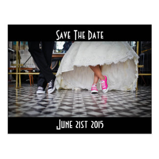 Retro Style Diner Wedding Couple Save the Date Postcard