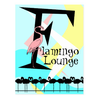 Retro Style Flamingo Lounge Postcard aquas pink