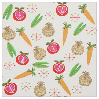 Retro Style Fruit and Vegetable Colorful Print Fabric