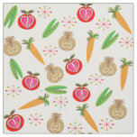 Retro Style Fruit and Vegetable Colourful Print Fabric