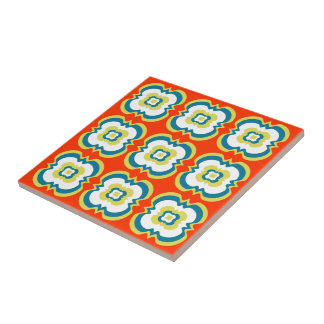Retro Style Funky Bright Orange Green Pattern Tile