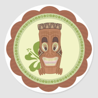 Retro style hawaiian tiki sticker