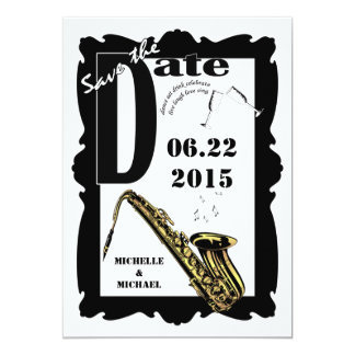 Retro Style Jazz Save the Date Black White 3 Card