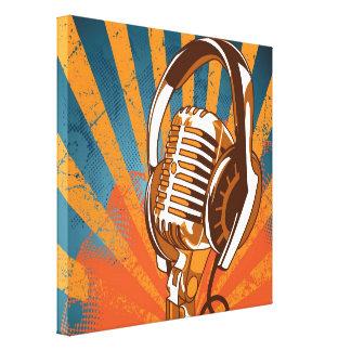 Retro Style Microphone Canvas Print