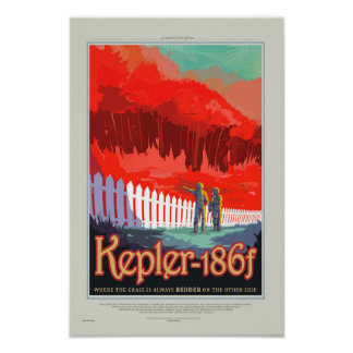 Retro Style NASA Travel Poster - Kepler 186f Tour