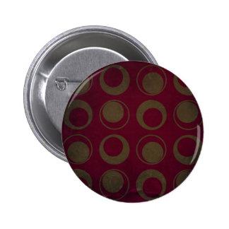Retro style pattern sage circles on burgundy button