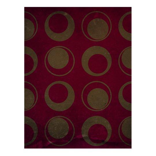 Retro style pattern sage circles on burgundy postcard