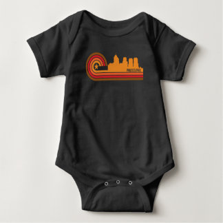 Retro Style Philadelphia Pennsylvania Skyline Baby Bodysuit
