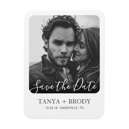 Retro Style Photo Frame Save the Date Magnet