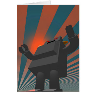 Retro Style Robot 4 Card