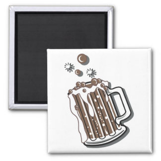 retro style root beer graphic square magnet