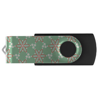 Retro style spots with orange-red star flower USB flash drive