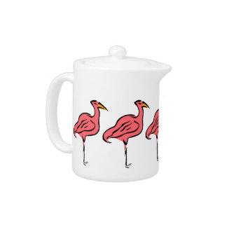 Retro Style Teapot Pink Flamingo Birds Flock