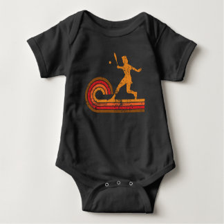 Retro Style Tennis Player Silhouette Sports Baby Bodysuit