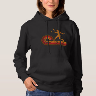 Retro Style Tennis Player Silhouette Sports Hoodie