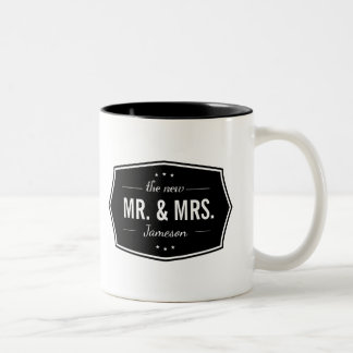 Retro Style The New Mr. and Mrs. with Photo Two-Tone Coffee Mug